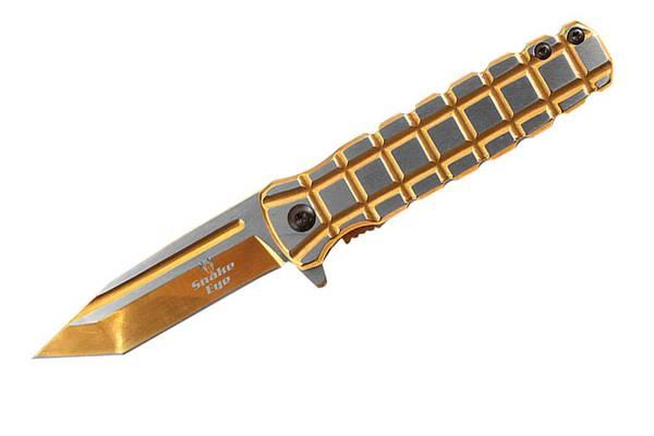 Bilde av SE - Taktisk Granat Style Foldekniv - Metallic Gull og Sølv